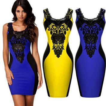 Women Lace Sleeveless Slim Sexy Bodycon Party Cocktail Evening Dress  Z_G SV004641 = 1955646276