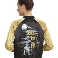 Her Universe Star Wars C-3PO & R2-D2 Embroidered Girls Satin Souvenir Jacket