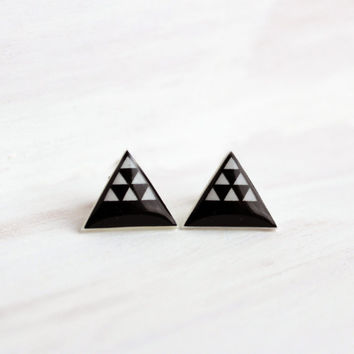 Raven Black Desert Dune Triangle Stud Earrings