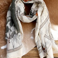 World Print Scarf, Beige/Grey