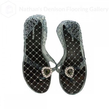 Ladies Glitter Jelly Sandals With Jeweled Hearts OC825