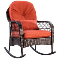 Giantex Patio Rattan Wicker Rocking Chair Modern Porch Deck Rocker Outdoor Furniture with Padded Cushion