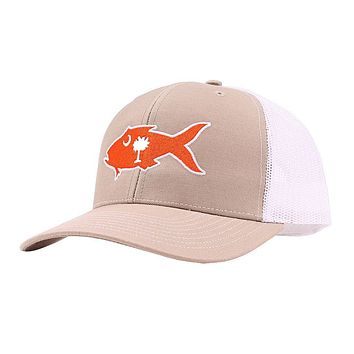 Clemson Gameday Snapper Trucker Hat in Khaki & White by Southern Snap Co.