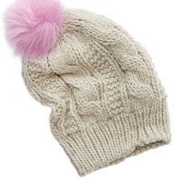 Aerie Women's Pom Beanie (Quaker Heather)