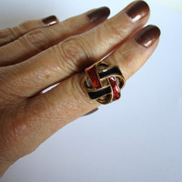 Button Ring - Copper Metal Base with Blue Red and Gold Vintage Button