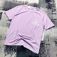 Adidas New fashion letter print couple top t-shirt Purple