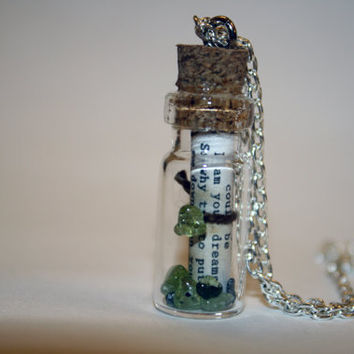 Custom Song Lyrics in a Bottle Necklace