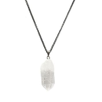 Clear Quartz Crystal Point Necklace