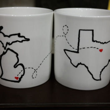 State or Country Heart Mugs with Quotes, Best Friends Gift, Going Away Gift, Moving Away, Long Distance Relationship, Military Gift, New Job