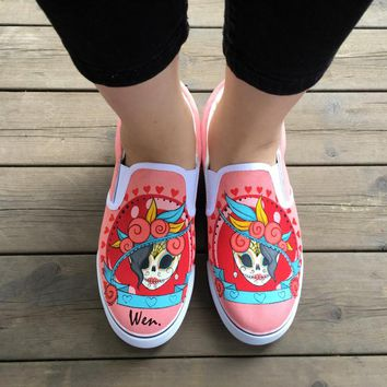 Wen Custom Design Mexican Colorful Skull Tattoo Pattern Hand Painted Pink Slip On Canvas Sneakers for Girls Women Gifts