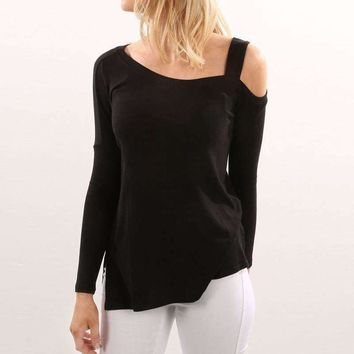 Women One Off Shoulder Casual Loose Tops Shirt Blouse Ladies Long Sleeve Ripped Hollow Out Solid Pullover Split Shirts