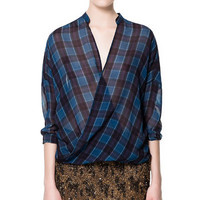CHECKED CROSSOVER SHIRT - Tops - Woman - ZARA United Kingdom