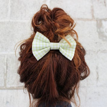 Lime Love Pastel Gingham Fabric 4 inch Hair Bow Clip