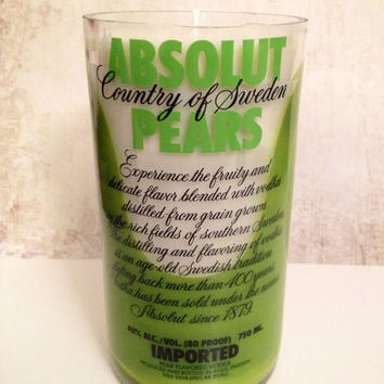 White Recycled Liquor Bottle Candle, Absolut Pear Vodka with Evergreen Scent