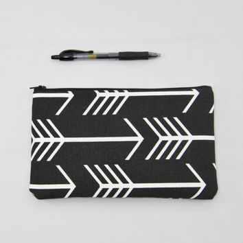 Black and white arrow zipper pouch, cosmetic bag, clutch, purse organizer, pencil case