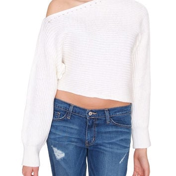 Aisie Sweater Crop Top - Ivory