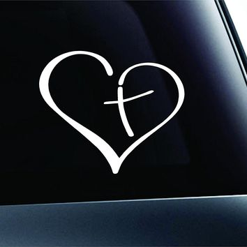 Heart with Cross Bible Christian  Car Window Ipad Tableet PC Notebook Cumputer Decal Sticker