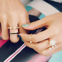 New Arrival Gift Shiny Jewelry Stylish Strong Character Rivet Rhinestone Pearls Ring [6586344519]