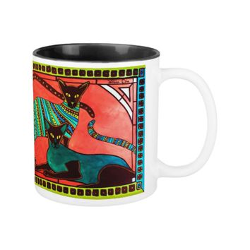 Legend Of The Siamese - Whimsical Cat Art Two-Tone Coffee Mug