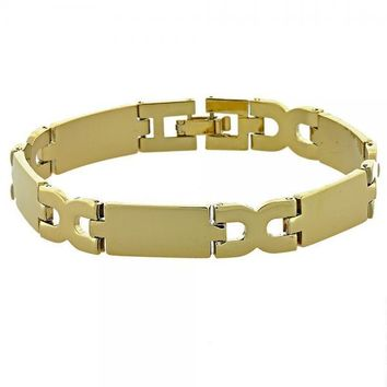 Gold Layered 5.035.002.2 Solid Bracelet, Hugs and Kisses Design, Polished Finish, Golden Tone