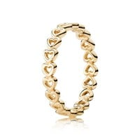 PANDORA Gold Linked Love Ring - Size 7