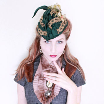 1800s Hat / ANTIQUE / Victorian / Green / Flowers / Perch Hat / STEAMPUNK / Rare