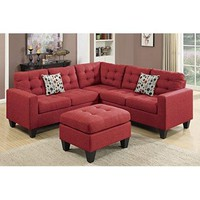 Red Upholstered Button Tufted Linen Like Fabric Sectional Living Room Sofa w Ottoman