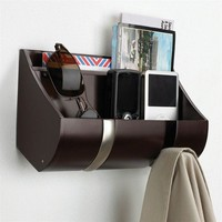 Umbra Cubby Wall-Mount Entryway Organizer with 2 Hooks, Espresso/Nickel
