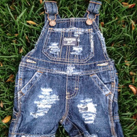 Hand-Distressed Denim Overalls for Baby- Osh Kosh Size 6m