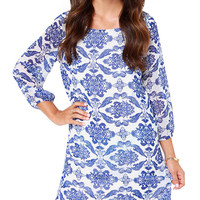 Blue Pattern Print Mini Dress with Sleeves
