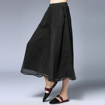 4xl women summer pants skirts fashion chiffon plus size black casual loose skirts female extra large brand ankle-length skirts