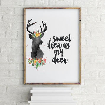 "Funny poster""Sweet dreams me deer"" Nursery poster Nursery quote Wall art Gift for kids Baby poster Inspirational quote Nursery art Printable"