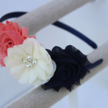 Coral and navy headbands coral flower girl headbands navy toddler headbands coral and navy wedding headbands coral and ivory headbands girls