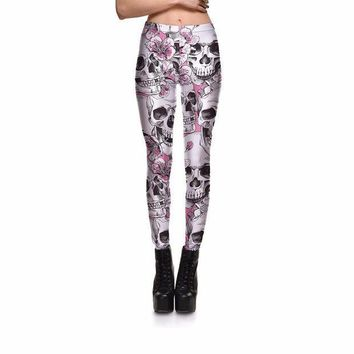 PEAPON Punk Style Women Ankle Length Skeleton Skull Flower Legging Halloween Club Party Gifts For Female Sexy Leggings Clothes