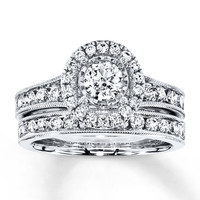 Diamond Bridal Set 1-1/3 ct tw Round-cut 14K White Gold