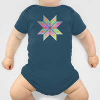 Idun Goddess of Youth Onesuit by Gréta Thórsdóttir  #floral #toddler #ikat  #ethnic #zigzag #coral #mint #baby