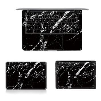 "Laptop Full Vinyl Decal Top Bottom and Keyboard Side Black Marble Texture Sticker Skins For Macbook Air Retina Pro 11""12""13""15"""