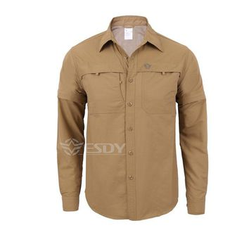 Hiking Shirt camping ESDY Summer Military Combat shirt outdoor Quick-dry breathable men shirt long Sleeve&leg detachable two parts KO_17_1