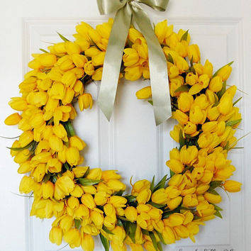 Yellow Tulip Wreath, Spring Summer Front Door Wreath, Easter Wreath, Mothers Day, Housewarming Gift