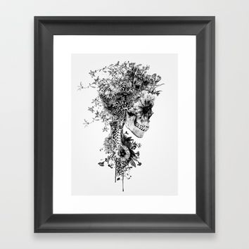 Skull BW Framed Art Print by RIZA PEKER