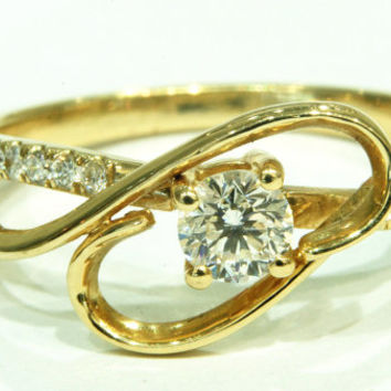 Art Deco Engagement Ring Yellow Gold , Diamond Ring, Wedding Ring, Promise Ring, Cocktail Ring, Unique Engagement ring