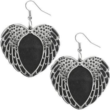 Black Wooden Heart Wing Earrings