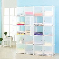 MEGAFUTURE DIY Portable Wardrobe Clothes Closet Modular Storage Organizer Space Saving Armoire Deeper Cube With Hanging Rod 20 cubes