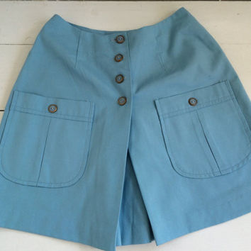 Blue Mini Skirt Skort Scooter Shorts Vintage 70s 60s Mod XXS 22 Waist