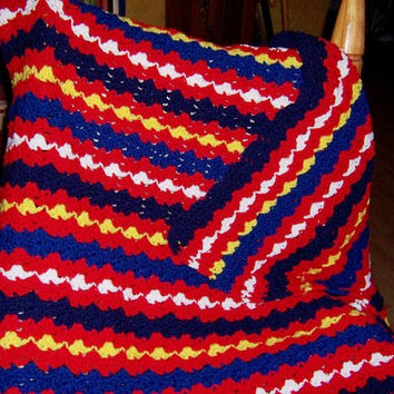 Hand Crocheted Afghan: Patriotic Afghan in Red White Blue - RWBY