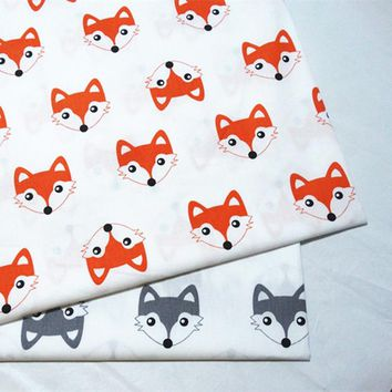 half meter 100% cotton twill cloth cute fox print fabric for DIY crib bedding cushions apparel quilting handwork decor tela A520