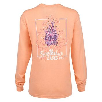 Warm and Toasty Long Sleeve Tee in Papaya by The Southern Shirt Co.