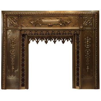Antique French Bronze and Brass Fire Surround