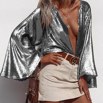 New Silver Cut Out Plunging Neckline Long Sleeve Fashion Blouse