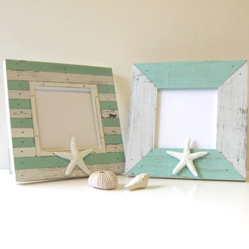 Home and Living - Pair of Whitewashed  Beach Cottage Photo Frames, Starfish
